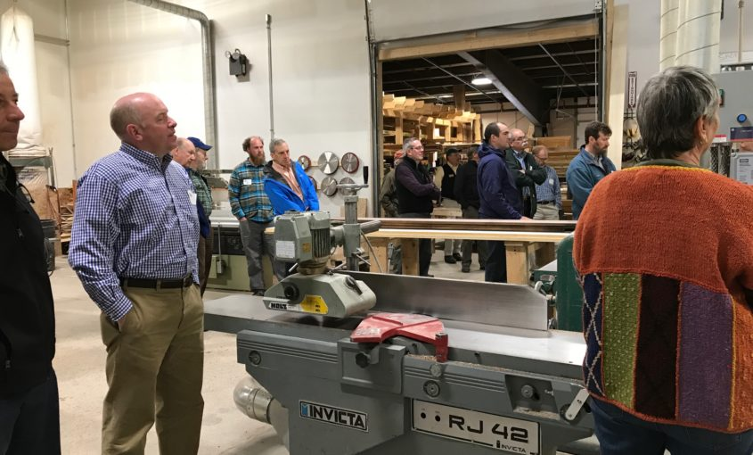Woodworkers take a tour of the Treehouse Hardwoods mill and shop