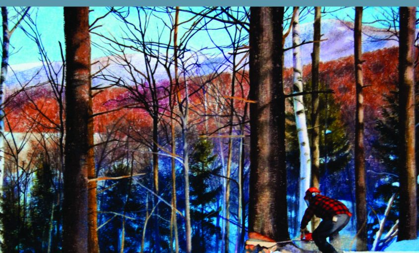 Kathleen Kolb painting of Bill Torrey workin in the woods